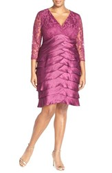 Plus Size Women's Adrianna Papell Lace And Shimmer Tiered Sheath Dress