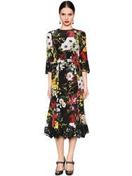 Dolce And Gabbana Floral Print Silk Blend Charmeuse Dress