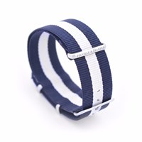 Huckle And Harper Watch Strap Nato Navy And White White Blue