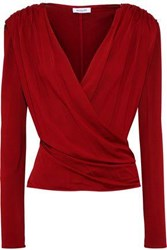Thierry Mugler Wrap Effect Embellished Stretch Jersey Top Crimson