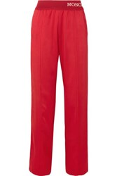 Moncler Intarsia Trimmed Striped Satin Jersey Track Pants Red