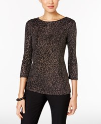 Msk Tulip Back Metallic Top Black Gold