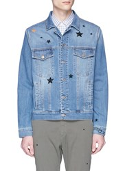 The Editor Star Embroidered Denim Jacket Blue