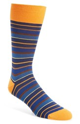 Bugatchi Men's 'Pop' Stripe Socks Blue Tangerine