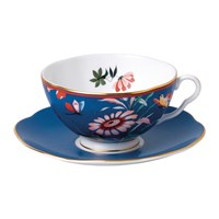 Wedgwood Paeonia Teacup And Saucer Blue