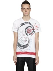 Etro Hand Painted Roses Cotton Jersey T Shirt