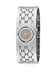 Gucci Twirl Stainless Steel Monogram Bangle Bracelet Watch Silver Brown