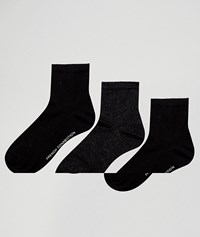 French Connection 3 Pack Ankle Socks Black