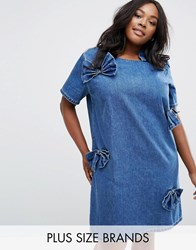 Alice And You Denim Bow Shift Dress Blue