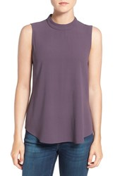 Eileen Fisher Women's Silk Crepe High Neck Sleeveless Blouse Mauve