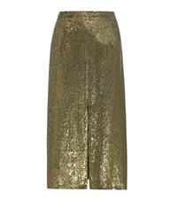 Nina Ricci Sequinned Silk Skirt Green