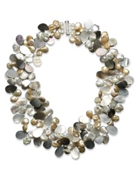 Macy's Pearl Necklace Sterling Silver Multicolor Cultured Freshwater Pearl
