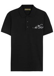 Valentino Panther Appliqued Pique Cotton Polo Shirt Black