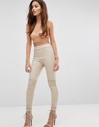 Hot Mess Suedette Leggings With Biker Detail Mocha Brown