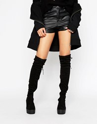 Truffle Collection Chunky Over Knee Boot Black