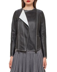 Akris Leather Biker Jacket W Contrast Stitching Black Moonstone Black Moonstone