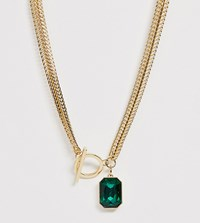 Reclaimed Vintage Statement Necklace With Green Stone Detail Gold