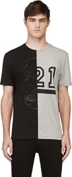 Markus Lupfer Black Leather Loop Half Skull T Shirt