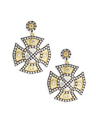 Freida Rothman Classic Cubic Zirconia And 14K Gold Plated Sterling Silver Drop Earrings