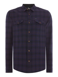 Duck And Cover Salem Long Sleeve Check Shirt Dark Blue
