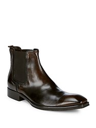 Jo Ghost Square Toe Leather Chelsea Boots Brown