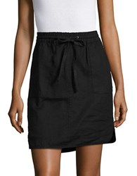 Lord And Taylor Dolphin Hem Linen Skirt Black