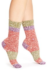 Women's Stance 'Bear' Combed Cotton Crew Socks Red