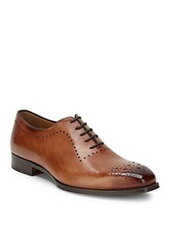 Di Bianco Stacked Heel Leather Oxfords Caramel