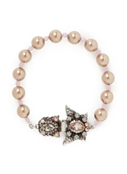 Miriam Haskell Crystal Butterfly Glass Pearl Bracelet Purple