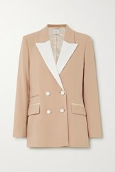 Racil Two Tone Double Breasted Twill Trimmed Wool Blend Blazer Tan