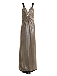 Azzaro Apolonia V Neck Lame Gown Silver