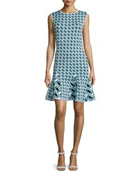 Zac Posen Ines Geometric Print Flounce Hem Dress Lagoon Black White