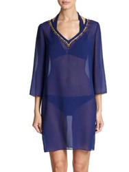 Shoshanna Bead Accented Sheer Tunic Navy