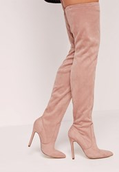 Missguided Pointed Toe Over The Knee Heeled Boots Pink