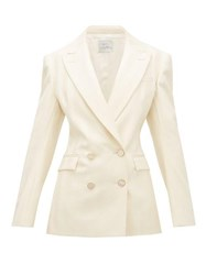 Hillier Bartley Double Breasted Striped Wool Jacket Cream