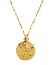 Sequin Star Charm Talisman Necklace Gold