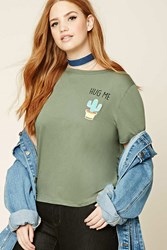 Forever 21 Plus Size Hug Me Graphic Tee Olive