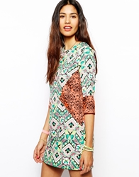 Native Rose Shift Dress In Kaleidoscopic Patchwork Print Multi