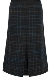 Bottega Veneta Metallic Plaid Stretch Wool Blend Midi Skirt Black