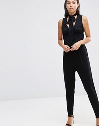 Asos Jumpsuit With Peg Leg And Pussybow Tie Black