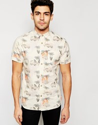 Brave Soul Vintage Beach Print Short Sleeve Shirt Cream