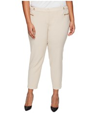 Calvin Klein Plus Size Straight Pants With Buckle Zip Latte Women's Casual Pants Brown