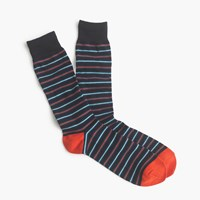 J.Crew Thin Striped Socks Navy Persimmon Stripe