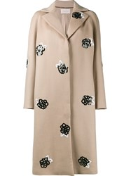 Christopher Kane Sequin Embellished Coat Brown