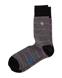Penguin Thin Striped Knit Socks W Contrast Black
