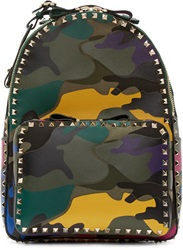 Valentino Multicolor Camouflage Leather Medium Backpack