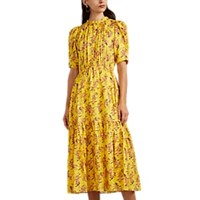 Ulla Johnson Corrine Floral Silk Dress Yellow
