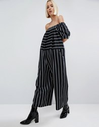 Asos White Off Shoulder Stripe Wide Leg Jumpsuit Black
