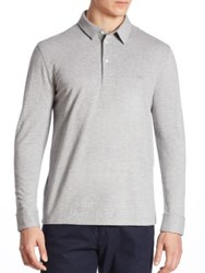 Lacoste Wool Blend Long Sleeve Polo Shirt Grey