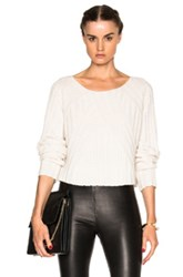 Theperfext Casey Cropped Long Sleeve Sweater In White